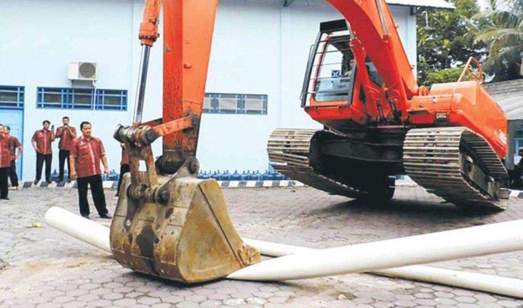 Ilustrasi Tes Ketahanan Pipa PVC-O